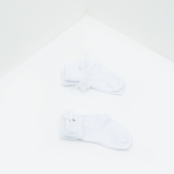 Textured Ankle Length Socks with Bow Accent - Set fof 2