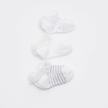 Lace Detail Ankle Length Socks - Set of 3