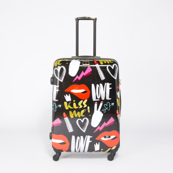 Mia Toro Printed Hard Case Trolley Bag with Retractable Handle