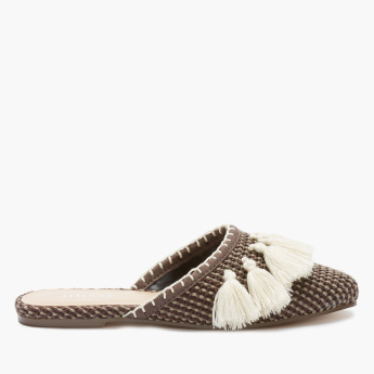 Little Missy Textured Mules with Tassel Detail