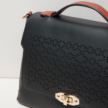 Paprika Laser Cut Detail Satchel Bag with Twist Lock