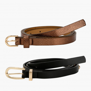 Paprika Textured Belt with Buckle Closure - Set of 2
