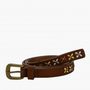 Paprika Embroidered Belt with Buckle Closure