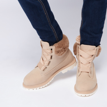 Lee Cooper High Top Lace-Up Boots with Plush Detail