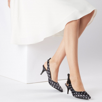 Missy Printed Mid Heel Sling Back Shoes with Bow Detail