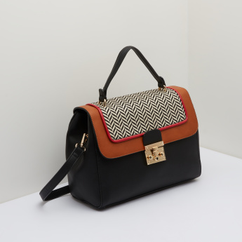 Paprika Satchel Bag with Textured Flap