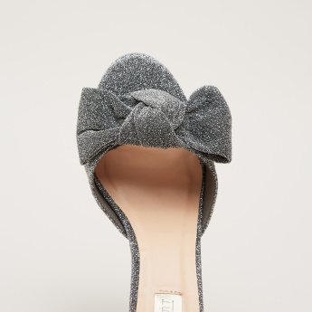 Glitter Ankle Strap Stilettos with Bow Detail