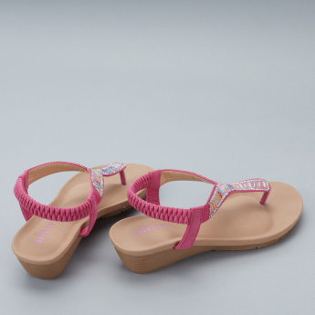 Little Missy Embellished Sandals with Elasticised Back Strap