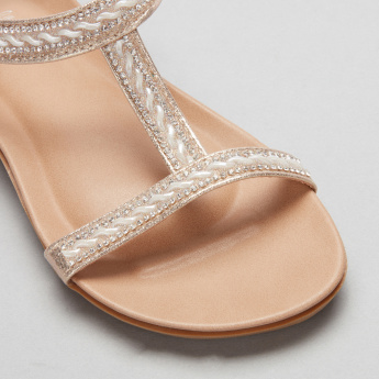 Little Missy Embellished Sandals with Ankle Strap