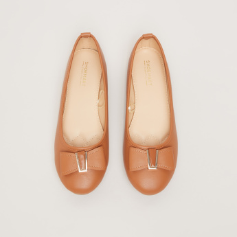 Slip-On Ballerina Shoes with Bow Applique