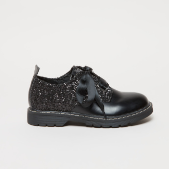 ELLE Lace-Up Shoes with Glitter Detail
