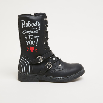Lee Cooper Printed Boots with Buckle Detail and Zip Closure