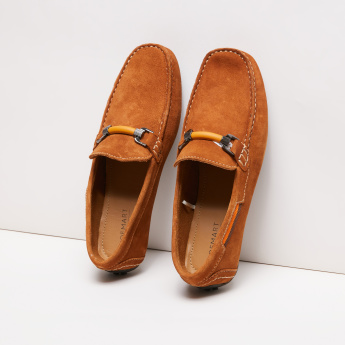 Textured Loafers with Vamp Band