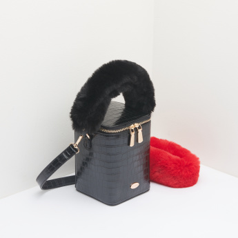 Missy Textured Bucket Bag with Zip Closure