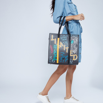 Missy Studded Tote Bag with Slogan Print