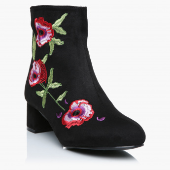 Missy Embroidered Block Heel Boots with Zip Closure
