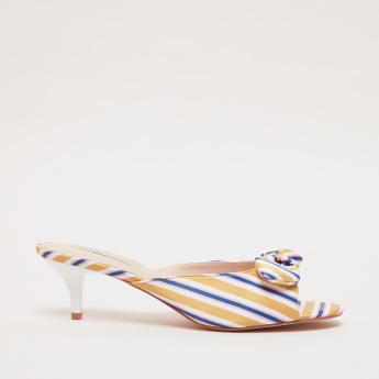 Bow Detail Slip-On Sandals with Kitten Heels