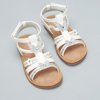 Juniors Applique Detail Sandals with Hook and Loop Closure