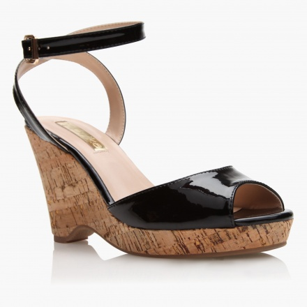 Paprika Cork Heel Patent Wedge Shoes