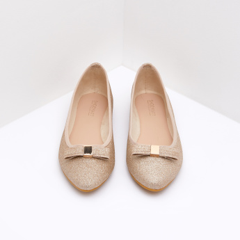 Textured Ballerina Flats with Bow Accent