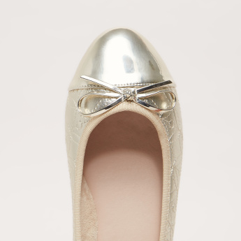 Stitch and Bow Detail Slip-On Ballerina Shoes