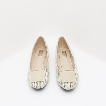 Textured Ballerina Shoes with Embellished Detail
