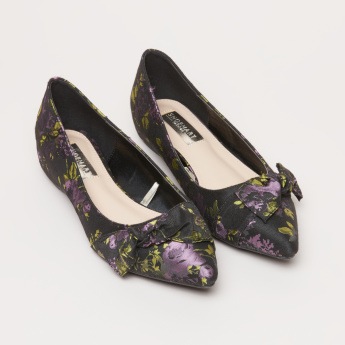 Printed Slip-On Bow Applique Ballerina Shoes