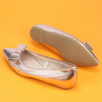Paprika Slip-On Ballerina Shoes with Bow Detail