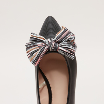 Slip-On Ballerina Shoes with Striped Bow Detail