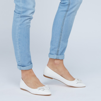 Slip-On Ballerinas with Bow Applique Detail