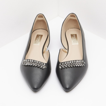 Embellished Ballerina Shoes with Slip-On Closure