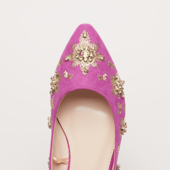 Embellished Slip-On Ballerina Shoes
