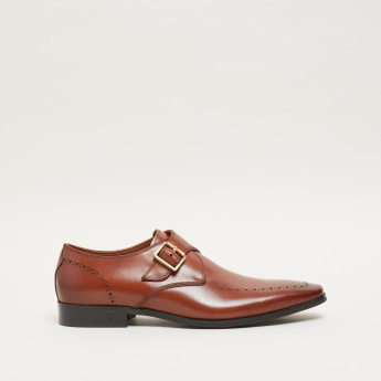ELLE Perforated Slip-On Shoes with Monk Strap and Buckle Detail