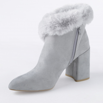 Missy Block Heel Shoes with Plush Detail