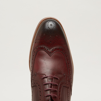 Laser Cut Detail Lace-Up Derby Shoes