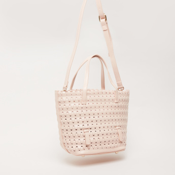 Weave Design Tote Bag with Pouch