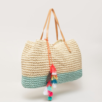 Weave Design Tote Bag with Tassels