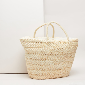 Weave Design Tote Bag with Embroidered Design