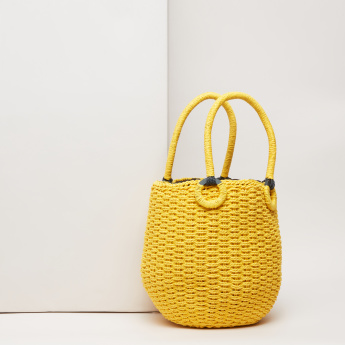 Missy Smiley Embroidered Tote Bag with Weave Pattern
