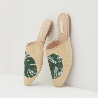 Slip-On Mules with Patchwork Detail
