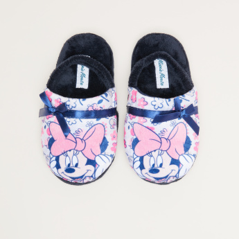 Minnie Mouse Printed Bedroom Slides with Elasticised Backstraps