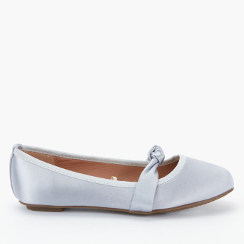 Little Missy Slip-On Mary Jane Shoes with Ribbon Detail