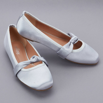 Little Missy Slip-On Ballerina Shoes with Ribbon Detail