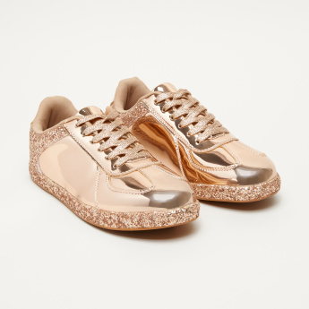 b715247ecb93c Qupid Glitter Lace-Up Sneakers