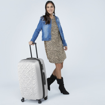 Mia Toro Trolley Bag with Retractable Handles and Textured Pattern
