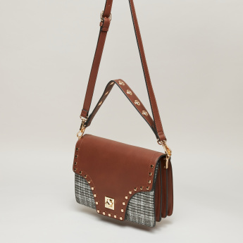 Elle Textured Satchel Bag with Stud Detail and Twist Lock