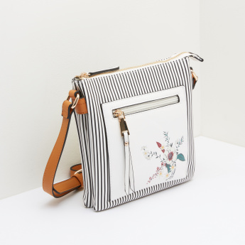 Celeste Crossbody Bag with Floral Prints and Stripes