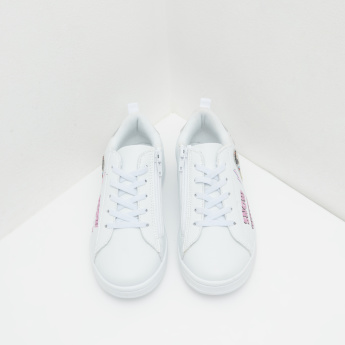 Snow White Lace Up Sneakers with Applique Detail