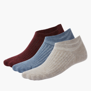 Duchini Striped No Show Socks - Set of 3