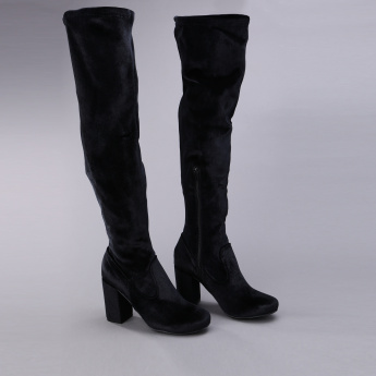 1e1a2745c77b Missy Block Heel Knee Length Boots with Zip Closure
